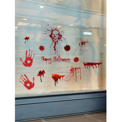 Halloween Skull Blood Handprint Pattern Window Wall Stickers