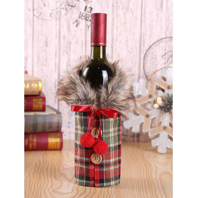 Christmas Faux Fur Collar Coat Design Wine Bottle Cover
