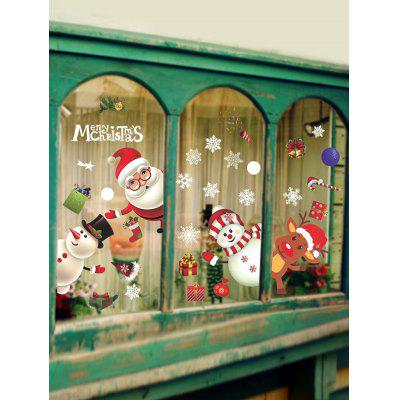 Christmas Snowman Santa Window Glass Static Stickers Set christmas snowfield snowman print waterproof shower curtain
