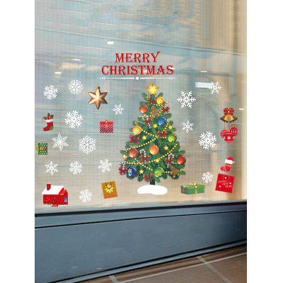 Christmas Tree Print Glass Static Stickers Set