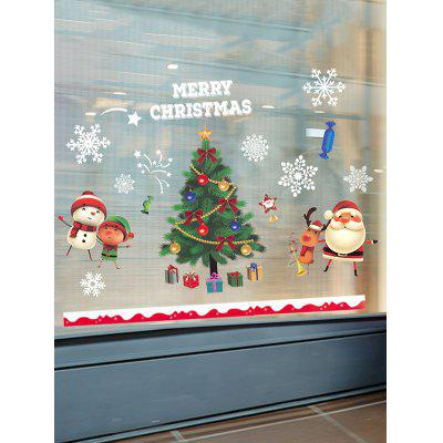 Christmas Tree Santa Print Window Glass Static Stickers Set