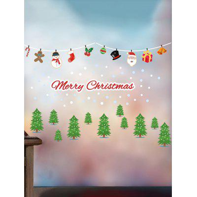 Christmas Tree Santa Claus Snowman Print Removable Wall Stickers