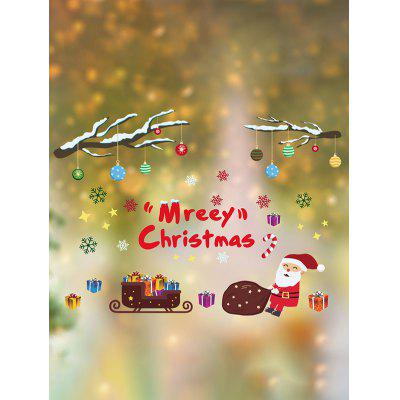 Merry Christmas Santa Print Wall Glass Stickers Set