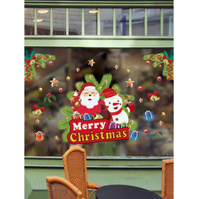 Christmas Santa Print Glass Wall Stickers Set