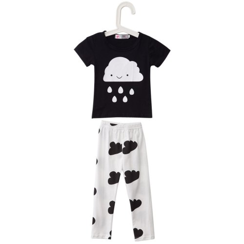 8d6583b5a0d Han Edition Jewel Neck Short Sleeve Cloud Raindrop Print Baby Boys T-Shirt  Suit