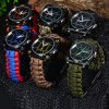 Multifuctional Survival Paracord Bracelet Watch with Compass Flint Fire Starter Scraper Whistle Gear - ARMY GREEN