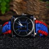Multifuctional Survival Paracord Bracelet Watch with Compass Flint Fire Starter Scraper Whistle Gear - BLUE AND RED