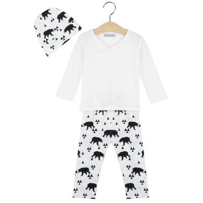 3pcs Casual V-Neck Long Sleeve Geometric Pattern Bear Printed Babies T-Shirt Long Pants  with Hat