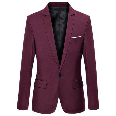 Pure Color Turn Down Collar Male Slim Fit Suit