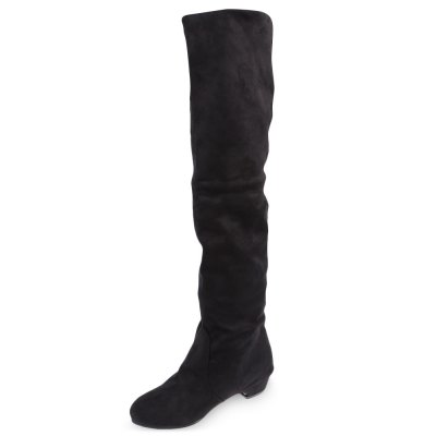 Pure Color Round Toe Ladies Knee Boots
