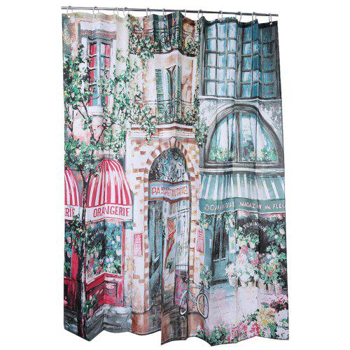 Retro Coffeehouse Pattern Water Resistant Shower Curtain