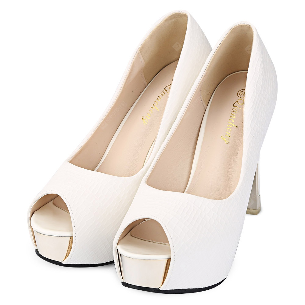 Fish Mouth Thick High Heel Shoes