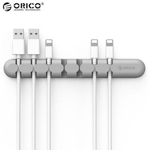 Cable Wire Organizer Earphone Holder Cord Charger Silicon Clip 3 Holes Gray