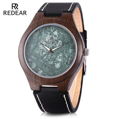 REDEAR SJ1448 Men Women Wood Quartz Watch Marble Dial Wooden Wristwatch