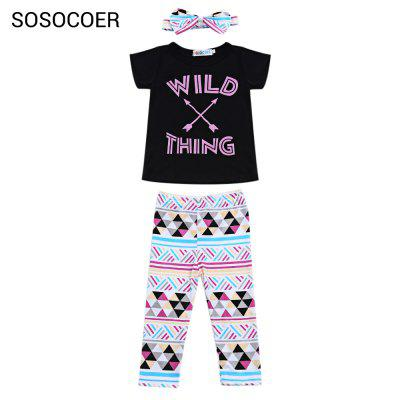 SOSOCOER Girls Letter Arrow Print T-shirt Geometric Pants Bowknot Headband Three-piece Suit
