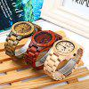 Bewell ZS - W086B Men Quartz Watch Wooden Band Date Display - EBONY WOOD