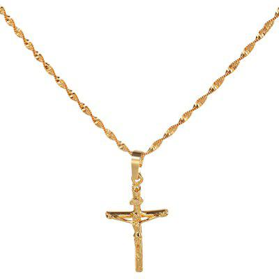 Stylish 24K Plated Gold Color Christian Cross Men Necklace