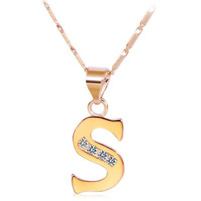 Rhinestones Chain 26 English Letters Shape Pendant Necklace