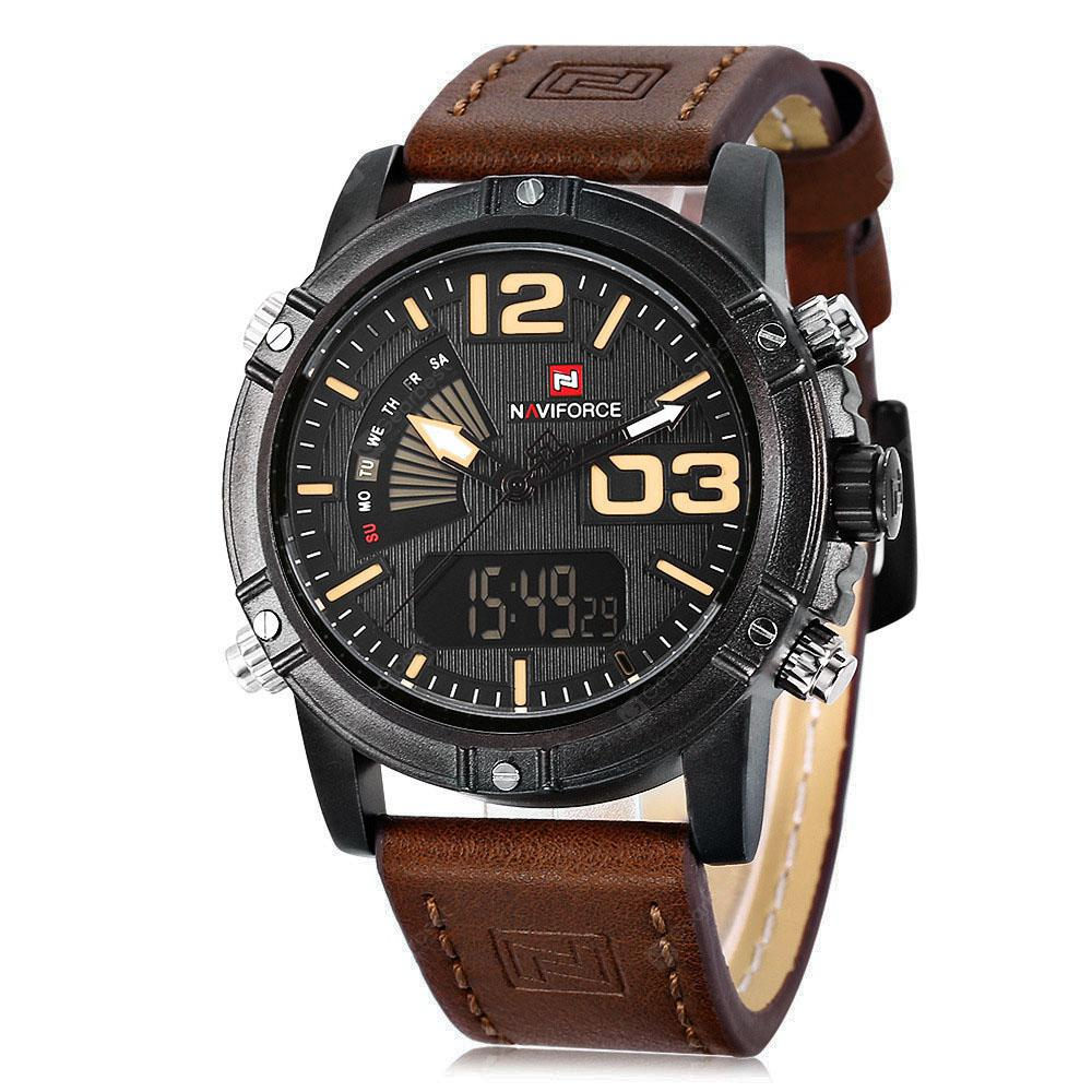 Gearbest NAVIFORCE NF9095M Men Dual Movt Watch - BROWN