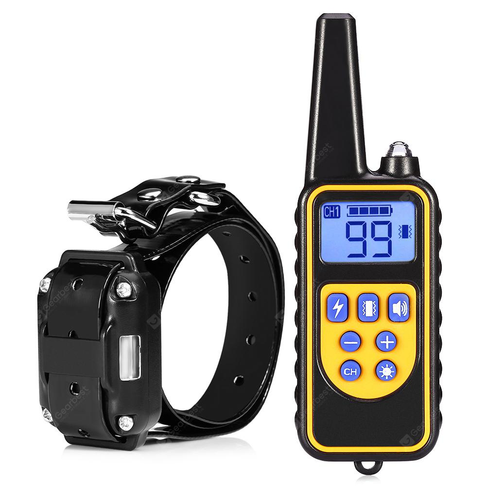 880 800m Waterproof Rechargeable Remote Control Dog Electric Training Collar - Black EU Plug