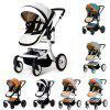 Foldable High Landscape Baby Stroller - WHITE