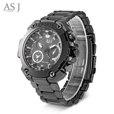 ASJ 8155 Men Quartz Watch Calendar Stainless Steel Band Male Wristwatch