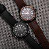 NAVIFORCE 9056 Men Leather Band Quartz Watch - BLACK SILVER