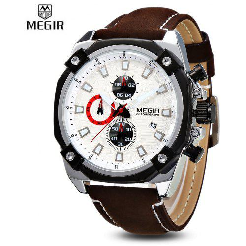 MEGIR MN2054 Men Quartz Watch Calendar Stopwatch Luminous Scales Male Wristwatch