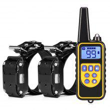 Remote Control Dog Electric Training Collar with 2 Receivers - Black EU