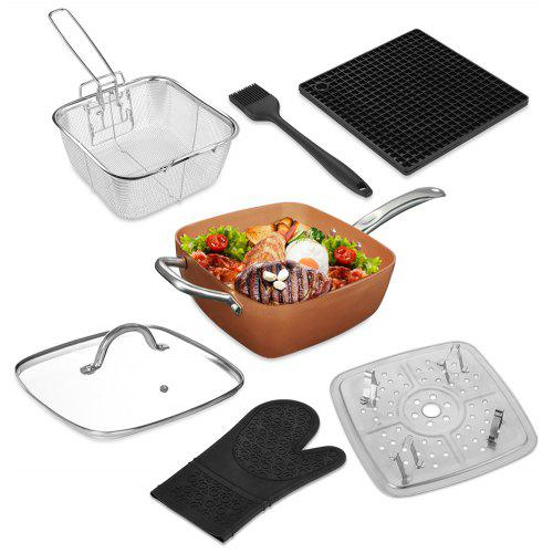 7pcs Square Nonstick Copper Pan Frying Basket Steamer Tray