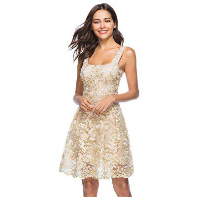 Women Sexy Floral Embroidery Ruffle Female Sleeveless Dress