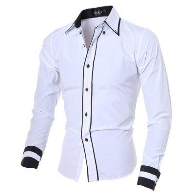2017 New Fashion Personality Men'S Self-Cultivation Casual Long-Sleeved Shirt