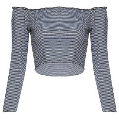 Off The Shoulder Long Sleeve Stripe Women Crop Top
