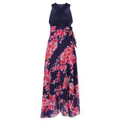 Trendy Criss-cross V Neck Sleeveless Floral Print Chiffon A-line Women Maxi Dress