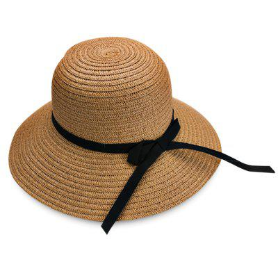 YJA - 208 Sun Protection Bucket Bowknot Straw Hat