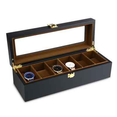 6 Slots Watch Organizer Display Case Wood Luxury Glass Top