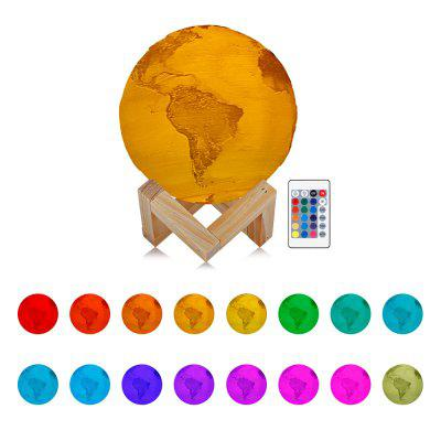 RGB Color Change Rechargeable 3D Print Earth Lamp