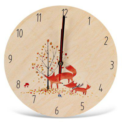 Round Silent Wall Clock Cartoon Wooden Home Art Decor