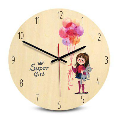 Round Printing Wooden Wall Clock
