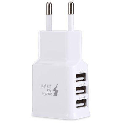 Gearbest gocomma 2A 3 USB Ports Travel Charger Adapter - WHITE EU PLUG