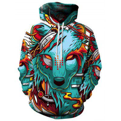 Men's Casual Hungry Wolf 3D Print Hoodie