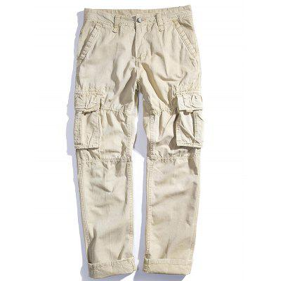 Men's Loose Cotton Straight Barrel Multi Pocket Casual Wear Pants