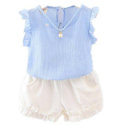 Baby Girl's Set 2pcs Vest Shorts Elastic Waist