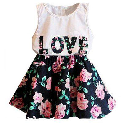 Girl LOVE Alphabet Sleeveless Vest + Child Skirt Two Pieces