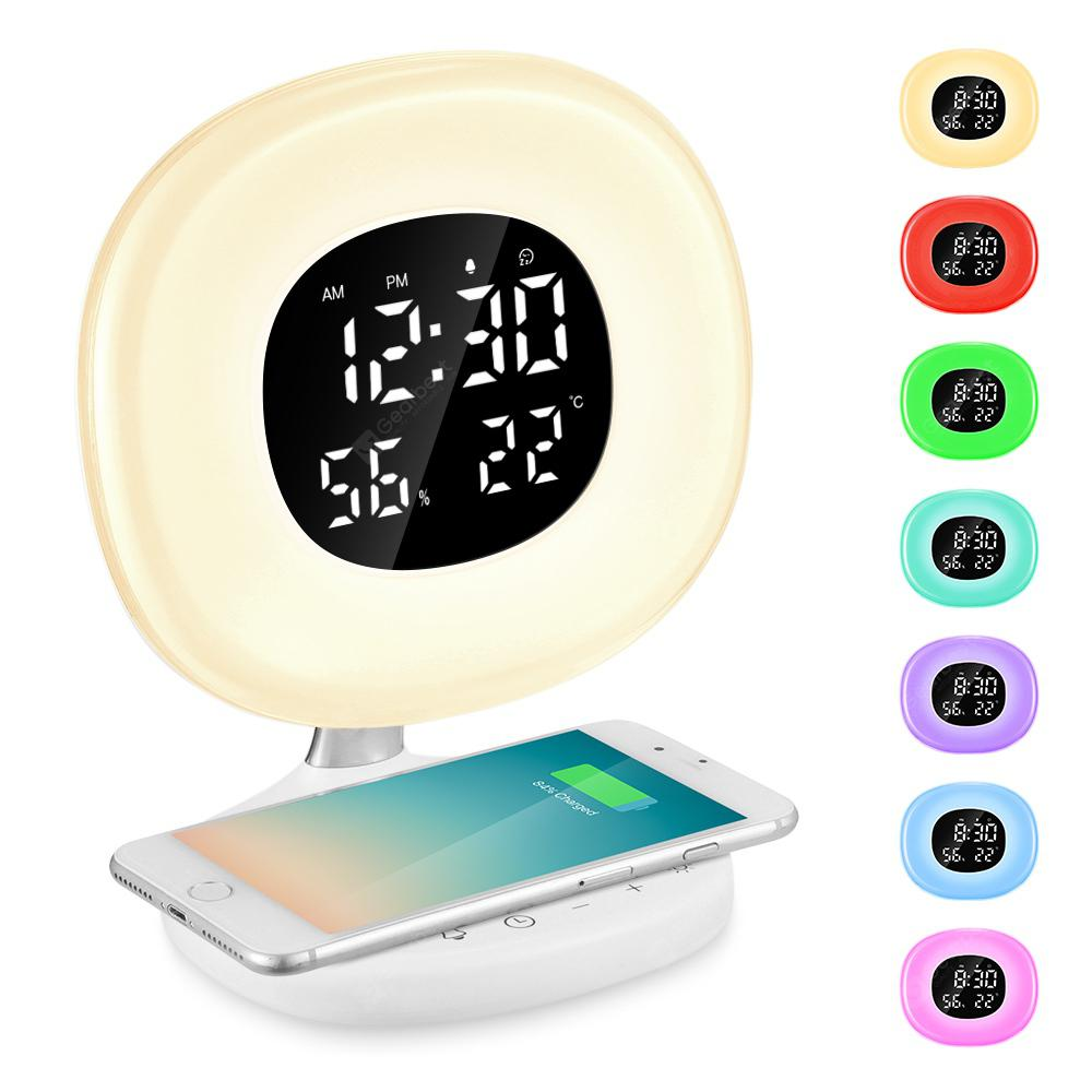 D7 LED Wake-up Light Sunrise Alarm Clock with Wireless Charging Function - WHITE