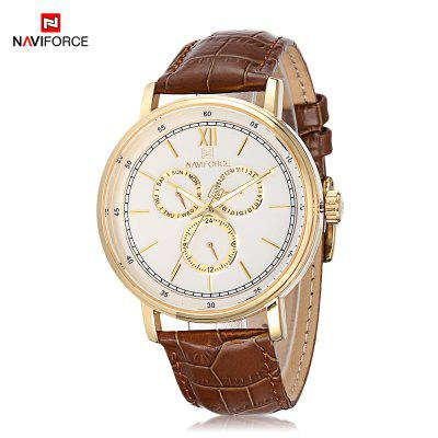 Naviforce 3001 Male Quartz Watch Leather Band Six Pointers Casual Wristwatch