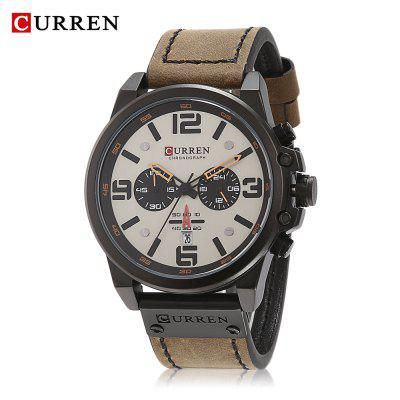 Curren 8314 Male Quartz Watch Six Pointers Date Display Wristwatch for Men