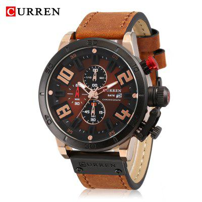 Curren 8312 Male Quartz Watch Calendar Stainless Steel Knit Band Wristwatch