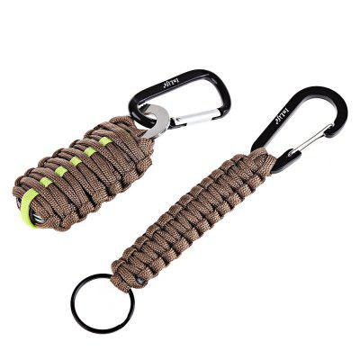 Outdoor Practical Paracord Survival Grenade Shape Kit Carabiner Fishing Tools with Snap Hook Key Chain