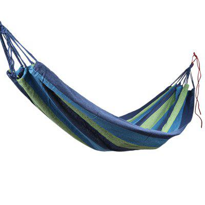 Outdoor Single Hammock Portable Canvas Stripe Swing Bed for Camping Traveling